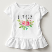 Chic Watercolor Floral/Flower Girl-12 Toddler T-shirt