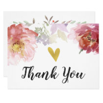 Chic Watercolor Floral Gold Heart Thank You Card