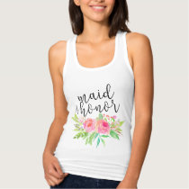 Chic watercolor Floral Maid of Honor Tank Top