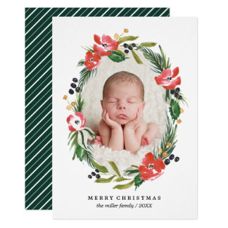 Chic Watercolor Floral Oval Photo | Christmas Card