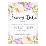 "Chic Watercolor Floral ""Save the Date"" Card"