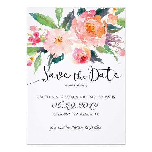 Chic Watercolor Floral Save the Date Card | Zazzle