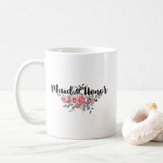 Chic Watercolor Floral Wedding Maid of Honor Coffee Mug