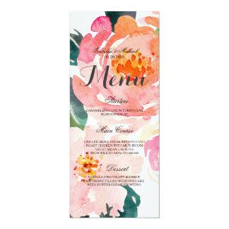 Chic Watercolor Floral Wedding Menu Card