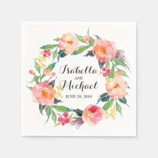 Chic Watercolor Floral Wedding Paper Napkin