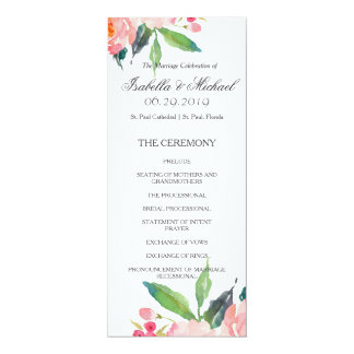 Chic Watercolor Floral Wedding Program