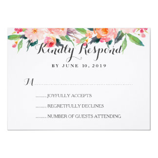Chic Watercolor Floral Wedding RSVP Card