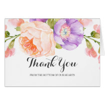 Chic Watercolor Floral Wedding Thank You