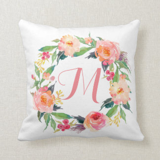 Chic Watercolor Floral Wreath Monogram Throw Pillow