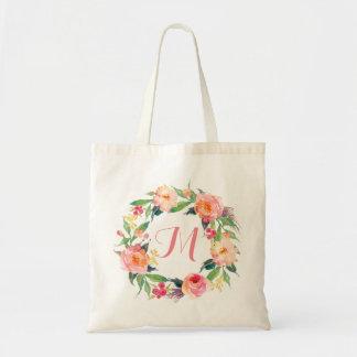 Chic Watercolor Floral Wreath Monogram Tote Bag