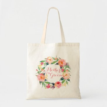 Precious_Presents Chic Watercolor Floral Wreath Mother of the Groom Tote Bag