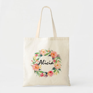 Chic Watercolor Floral Wreath Personalized Wedding Tote Bag