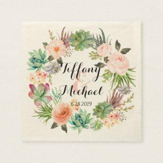 Chic Watercolor Floral Wreath Wedding-4 Napkin