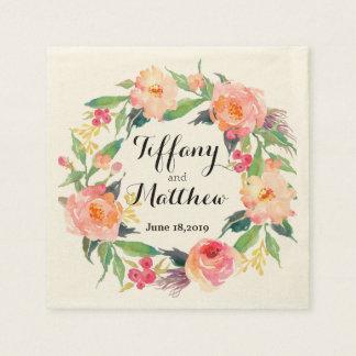 Chic Watercolor Floral Wreath Wedding Paper Napkin