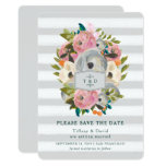 Chic Watercolor Flowers Gray Stripes Save the Date Card