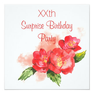 Chic Watercolor Flowers Surprise Birthday Party Card