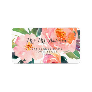 Chic Watercolor Foral Wedding Label