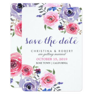 Chic Watercolor Pink Purple Rose Save The Date Card