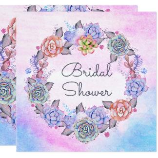Chic Watercolor Succulents Wreath Bridal Shower Card