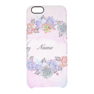 Chic Watercolor Succulents Wreath Clear iPhone 6/6S Case