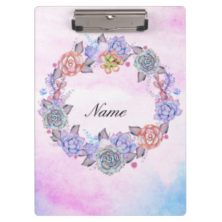 Chic Watercolor Succulents Wreath Clipboard