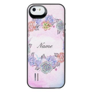 Chic Watercolor Succulents Wreath iPhone SE/5/5s Battery Case