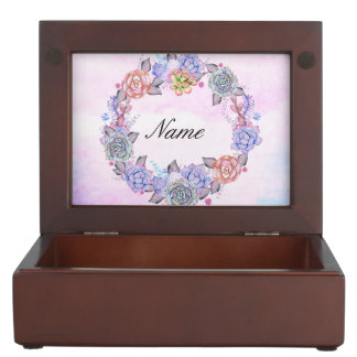 Chic Watercolor Succulents Wreath Memory Box