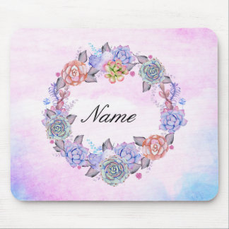 Chic Watercolor Succulents Wreath Mouse Pad
