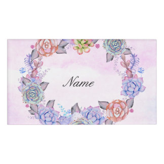 Chic Watercolor Succulents Wreath Name Tag