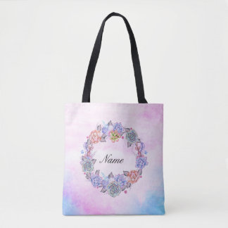 Chic Watercolor Succulents Wreath Tote Bag