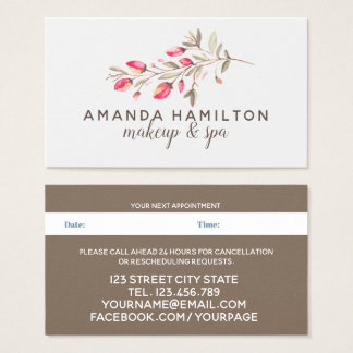 Chic Watercolor wild meadow pink flow Appointment Business Card
