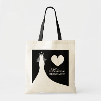 Chic wedding gown and veil tote bag for bridesmaid