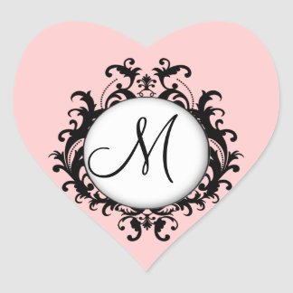 Chic Wedding Initial Damask Label Pink Heart