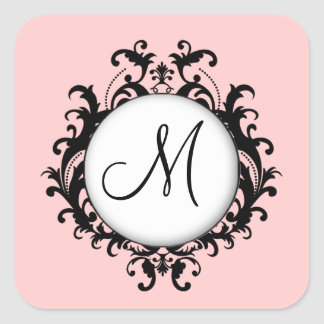 Chic Wedding Initial Damask Label Pink Square