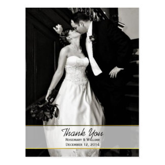 Chic Wedding Photo Thank You Post Card
