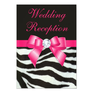 Chic Wedding Reception Zebra Stripes Hot Pink Bow Announcements