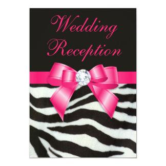 Chic Wedding Reception Zebra Stripes Hot Pink Bow 5x7 Paper Invitation Card