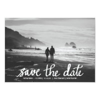 Chic Wedding Save The Date Handwritten Photo Card