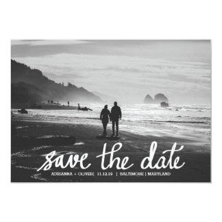 Chic Wedding Save The Date Handwritten Photo Card