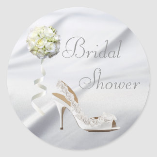 Chic Wedding Shoe & Bouquet Bridal Shower Classic Round Sticker