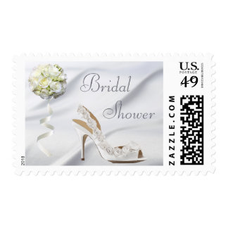 Chic Wedding Shoe & Bouquet Bridal Shower Postage Stamp