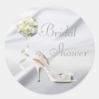Chic Wedding Shoe & Bouquet Bridal Shower Classic Round Sticker