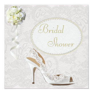 Chic Wedding Shoe Paisley Lace Bridal Shower Card