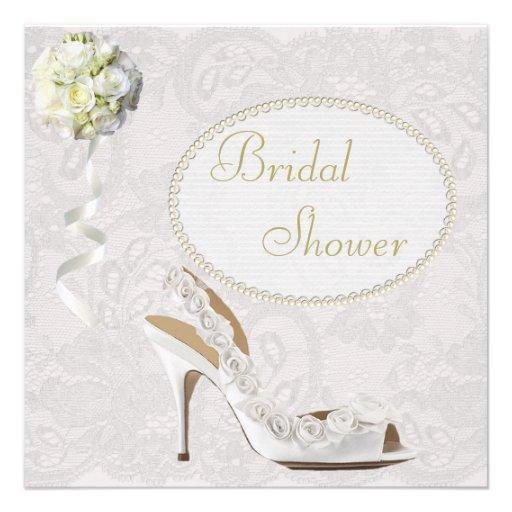 Personalized pearl bridal shower invitations custominvitations4u chic wedding shoe paisley lace bridal shower custom invitations filmwisefo