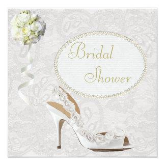 "Chic Wedding Shoe Paisley Lace Bridal Shower 5.25"" Square Invitation Card"