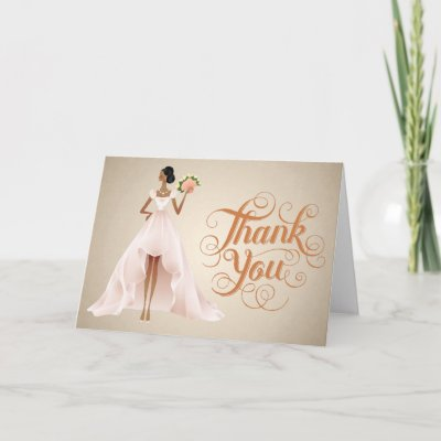 Chic Wedding You Thank Card with African American