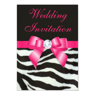 Chic Wedding Zebra Stripes Hot Pink Bow Card