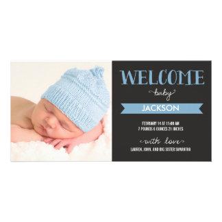 Chic Welcome Baby Boy Birth Announcement
