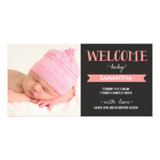 Chic Welcome Baby Girl Birth Announcement Photo Card