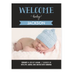 Chic Welcome Birth Announcement - Blue Postcard